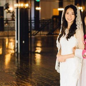 Gold Scalloped Lace Bridal Veil